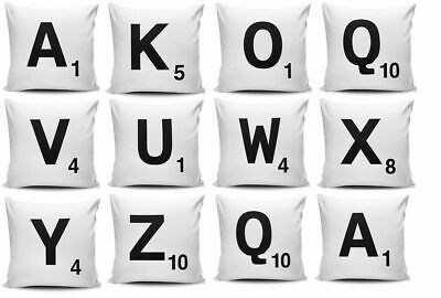 A-Z White Scrabble Themed Alphabet Letters Cushions Cover Free Next Day Postage