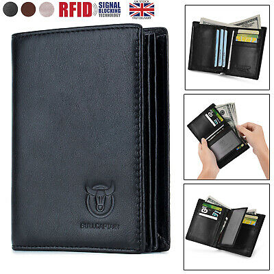 Mens Wallet Soft Genuine Leather RFID Bifold ID Credit Card Photo Holder Purse