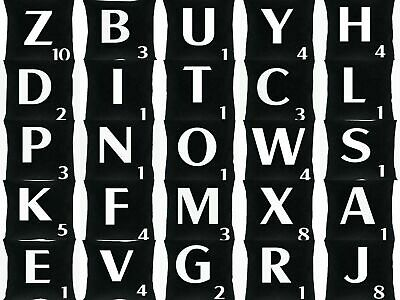 A-Z Black Scrabble Themed Alphabet Letters Cushions Cover Free Next Day Postage