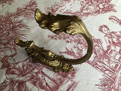 Antique French Brass /  Bronze Curtain Tie Back Hook With Acanthus Leaf Style.