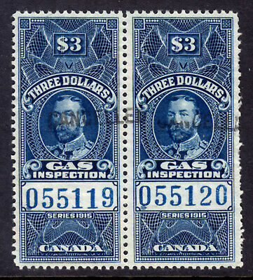 Canada Gas Inspection #Fg31 $3 Blue Pair, 1915 Kgv, Vf, Used