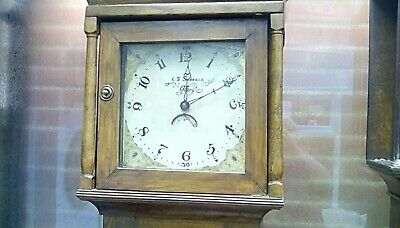 Pretty Oak 30 hour Long case grandfather clock