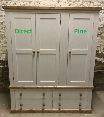 Pine Furniture Edwardian Triple 4 Drawer Robe White With Antique Pine Trims