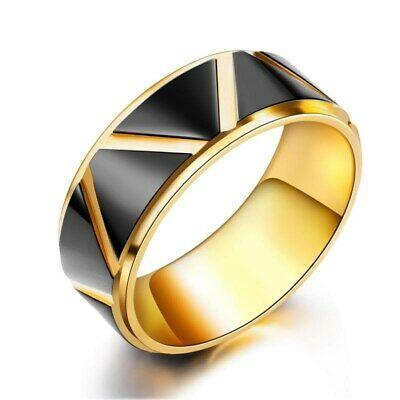 8mm Black Plating Polished Band Mens Stainless Steel Wedding Gold Ring Size 7-12