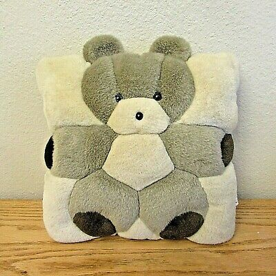 """Teddy Bear Pillow Cushion 12"""" by Angel Toy Corp 1998 Vintage"""
