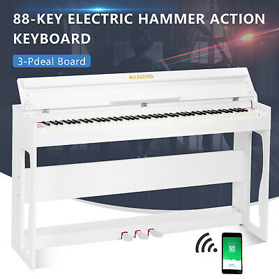88 Key LCD Electric Piano Keyboard Weighted Hammer Action w/3 Pedals+H Stand