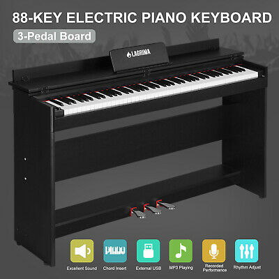 Music Electric Digital 88 Key LCD Piano Keyboard W/Stand+Adapter+3-Pedal Board