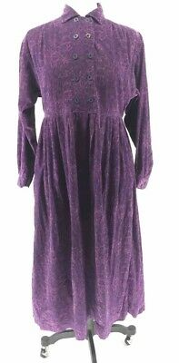 Laura Ashley Womens Corduroy Maxi Dress Purple Floral Double Breasted Vintage 8
