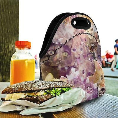 Lunch Bag for Kids Girls Boys Adults -Neoprene School Work Bags - Cat Collage