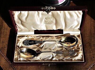 Pr of Boxed Swedish Gilded .830 Silver Spoons (Gustaf Mollenborg, Stock.,1906)