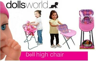 Girls Baby Doll Role Play Pink Feeding High Chair Folding Toys Xmas Fun Gift New