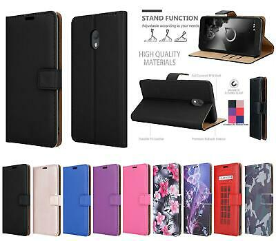 For Alcatel 1C (2019) 5003D Genuine Black Pink Leather Wallet Phone Case Cover