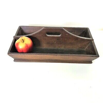 Antique 19th C Primitive Wooden Utensil Cutlery Knife Box Tray