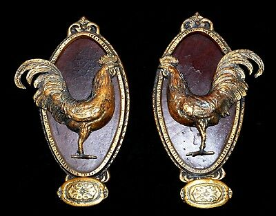 Pair Of Antique French Solid Bronze/ Brass Coat Hooks Roosters