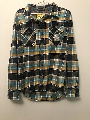 Superdry Flannel Shirt Large Blue Yellow Check