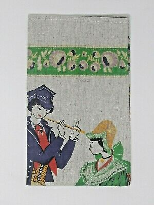 Vintage Polish Folk Dancers Linen Towel Wall Hanging Hand Printed New Old Stock