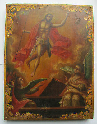 """""""Resurrection of our lord Jesus Christ"""" Russian Orthodox hand painted icon 19 c."""