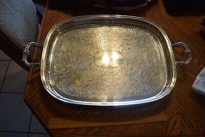 Antique Sheffield Silverplate Large Rectangle Gallery Footed Tray NO Monogram