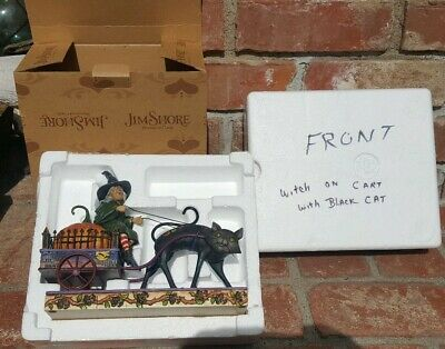 Jim Shore WICKED RIDE  Witch on Cart Cat  Pumpkin - Mint In Box W/ Tag Halloween