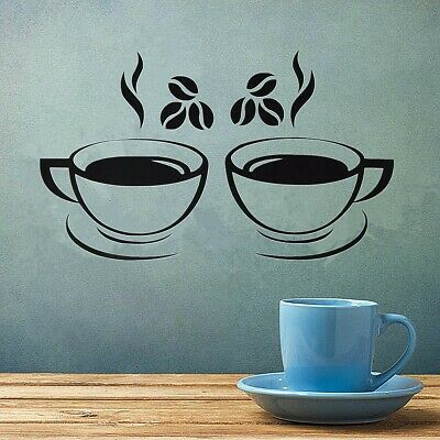 2 Coffee Cups Wall Stickers Art Decal Home Kitchen Restaurant Pub Cafe Decor A