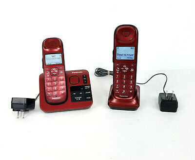 Panasonic KX-TGL430 R Cordless Phone System Red Answering Machine Big Buttons