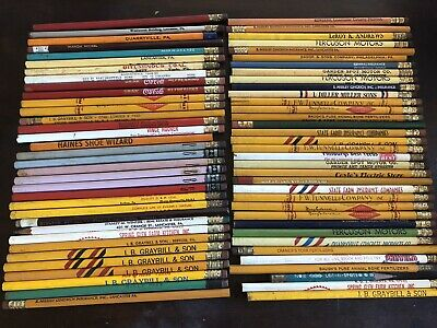 Lot Of 70 New & Used Vintage Wooden Advertising Pencils Lancaster, Pa 1950's