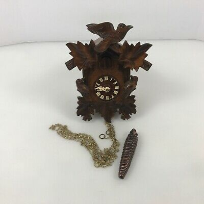 ✅ Antique Wooden Black Forest Cuckoo Clock Woodpecker Schmeckenbecher 2.A5