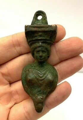 Ancient Roman Bronze Amulet Face