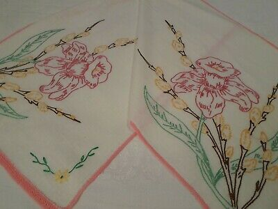 Vintage Hand Embroidered Dresser Scarf Table Runner Pink Daffodil/Pussywillow