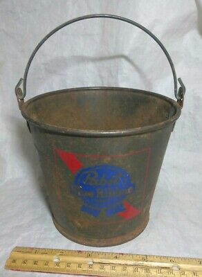 "Vintage Pabst Blue Ribbon Metal Beer Pail With Wire Handle. It's 5"" Tall"