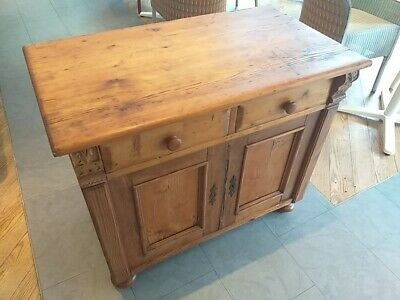 ANTIQUE victorian pine KITCHEN CABINET cupboard Drawers, nice corbels scrub top