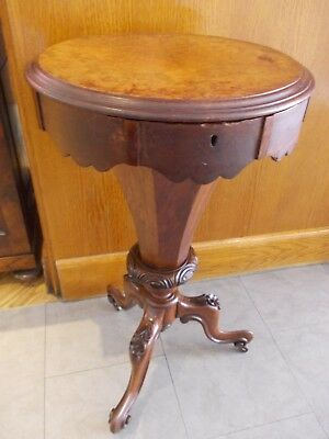 antique sewing table VICTORIAN WALNUT carved legs , original interior , CASTORS