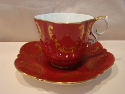 Lovely Deep Red and Gold Square Aynsley Tea Cup and Saucer