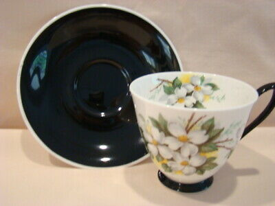 Lovely Royal Albert Tea Cup and Saucer - Dogwood Flower with Black