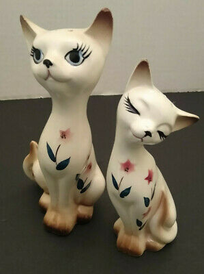 Cat Lover White Kitty Cat Floral Salt Pepper Shaker Figurine Japan