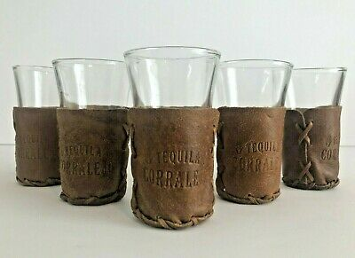Vintage Set Of 5 CORRALEJO TEQUILA Shot Glasses With Leather Holders 3.5""