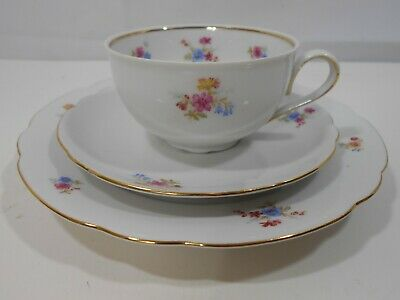 VTG Trio Set Bavaria Schirnding Tea Cup Saucer Plate Porcelain Gold Trim Flowers