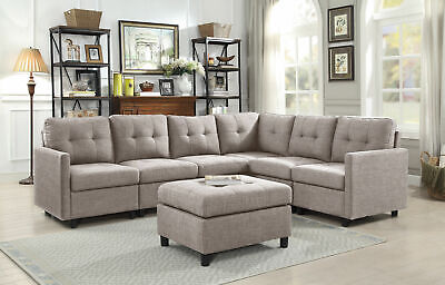 MODERN FABRIC SECTIONAL Sofa Set Couch Assembly Microsuede ...