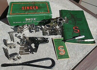 Vtg SINGER Featherweight 221 ~ ATTACHMENTS & Feed Dog Cover Plate ~ Simanco USA