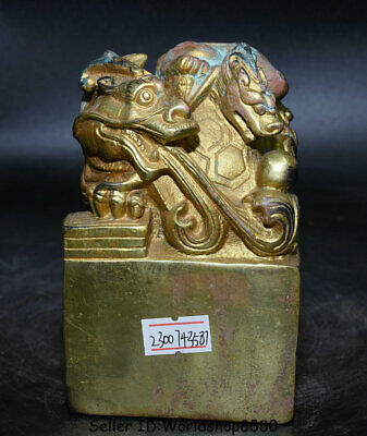"""4.4"""" Ancient Chinese bronze gilt Dynasty Dragon Turtle Seal Stamp Signet Statue"""