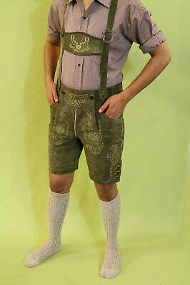 Bavarian Lederhosen Oktoberfest real leather embroidered short pants SUEDE GREEN
