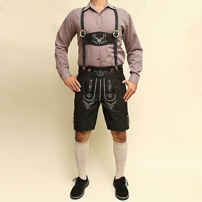 Bavarian Lederhosen Oktoberfest real leather embroidered short pants SUEDE BLACK