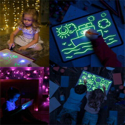 HOT!!! Draw W/ Light Drawing Board Fun Developing Toy Kids Educational Paint vn4
