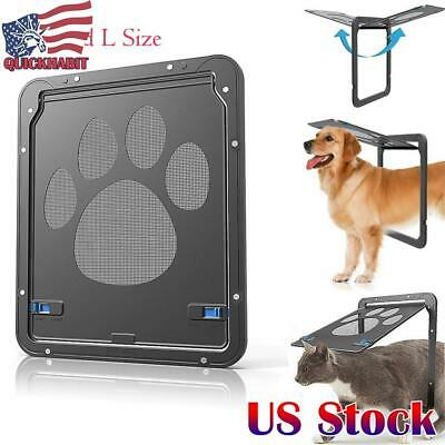 US Pet Screen Door Dog Footprint Pattern Pet Cat Door Window Screen Doggie Flap