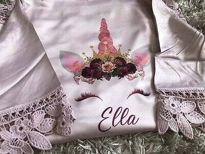 Girls Unicorn Robe Gown satin Lace Kids Childrens Robe Personalised Adult