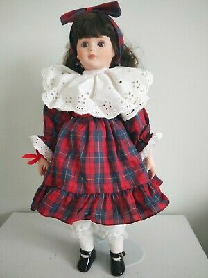 Gorgeous Dark-Haired Porcelain Doll in Tartan Dress, Stand & Box, Good Condition