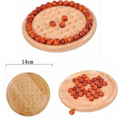 Traditional Board Wooden Solitaire Game Marble Child Classic Educational Fun Toy