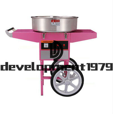 1080W lectric Commercial Cotton Candy Machine/Floss Maker Pink Cart Stand 110V