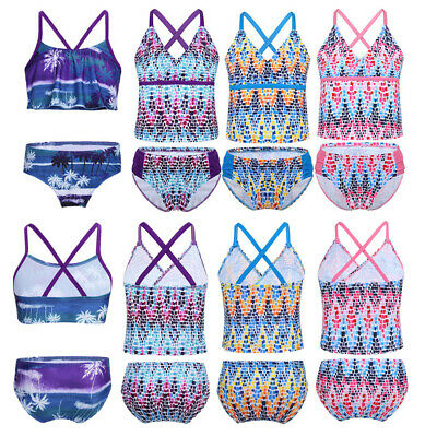 Girls Two-piece Tankini Swimwear Floral Bikini Set Swimsuit Beach Bathing Suits