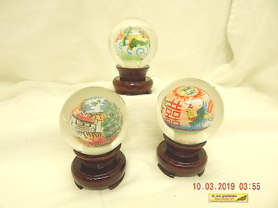 Glass Globes-Wood Base-Paperweights-Lot Of 3-Chinese Artwork/Characters-As Is!